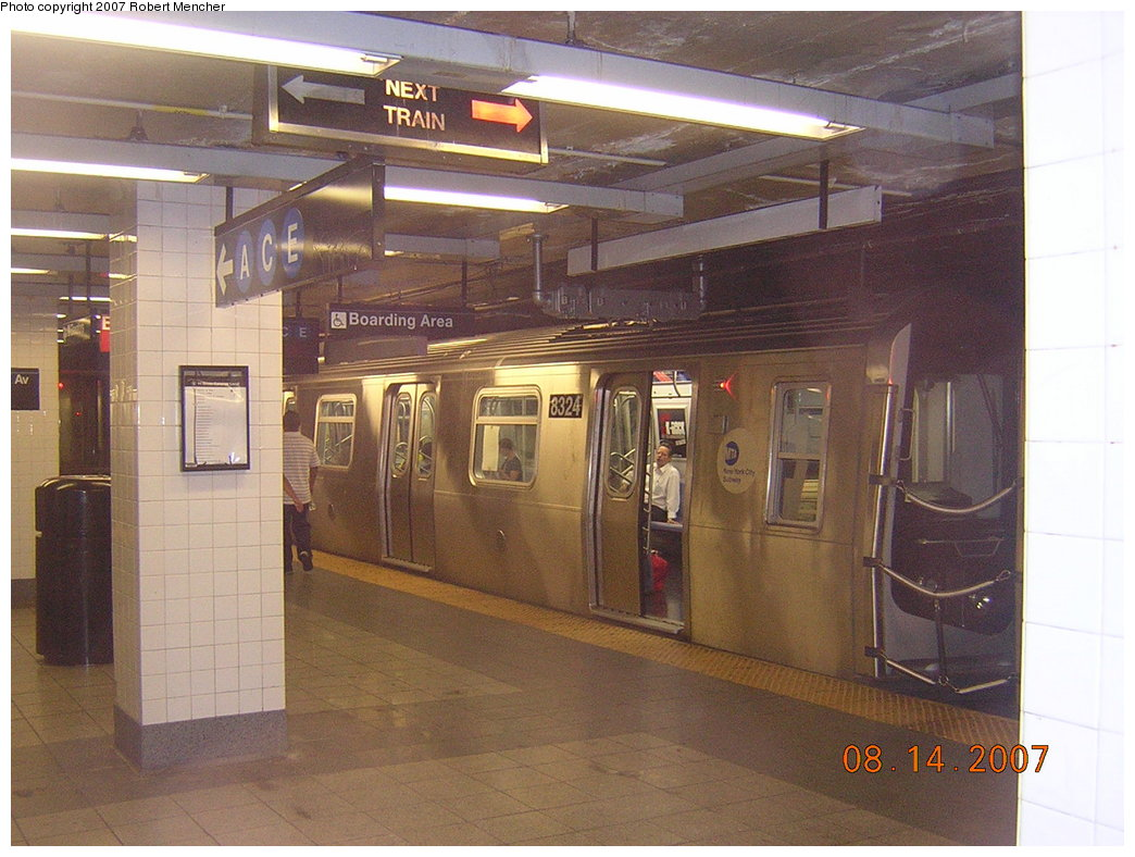 (208k, 1044x788)<br><b>Country:</b> United States<br><b>City:</b> New York<br><b>System:</b> New York City Transit<br><b>Line:</b> BMT Canarsie Line<br><b>Location:</b> 8th Avenue <br><b>Route:</b> L<br><b>Car:</b> R-160A-1 (Alstom, 2005-2008, 4 car sets)  8324 <br><b>Photo by:</b> Robert Mencher<br><b>Date:</b> 8/14/2007<br><b>Viewed (this week/total):</b> 0 / 2090