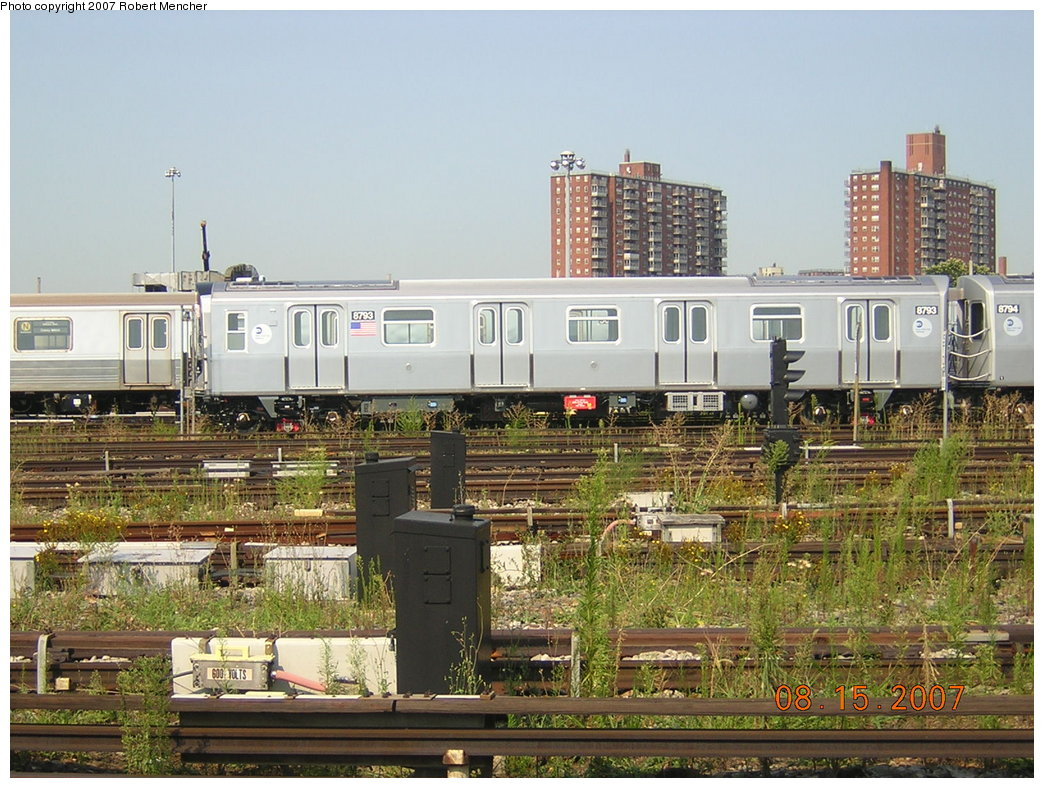 (246k, 1044x788)<br><b>Country:</b> United States<br><b>City:</b> New York<br><b>System:</b> New York City Transit<br><b>Location:</b> Coney Island Yard<br><b>Car:</b> R-160B (Kawasaki, 2005-2008)  8793 <br><b>Photo by:</b> Robert Mencher<br><b>Date:</b> 8/15/2007<br><b>Viewed (this week/total):</b> 0 / 2175