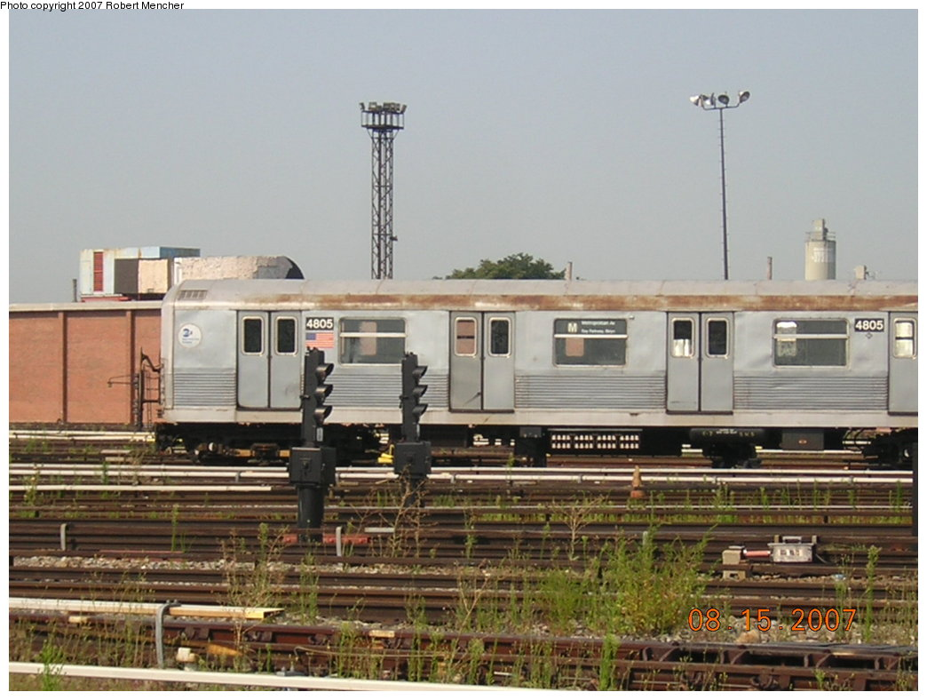 (189k, 1044x788)<br><b>Country:</b> United States<br><b>City:</b> New York<br><b>System:</b> New York City Transit<br><b>Location:</b> Coney Island Yard<br><b>Car:</b> R-42 (St. Louis, 1969-1970)  4805 <br><b>Photo by:</b> Robert Mencher<br><b>Date:</b> 8/15/2007<br><b>Viewed (this week/total):</b> 3 / 1164