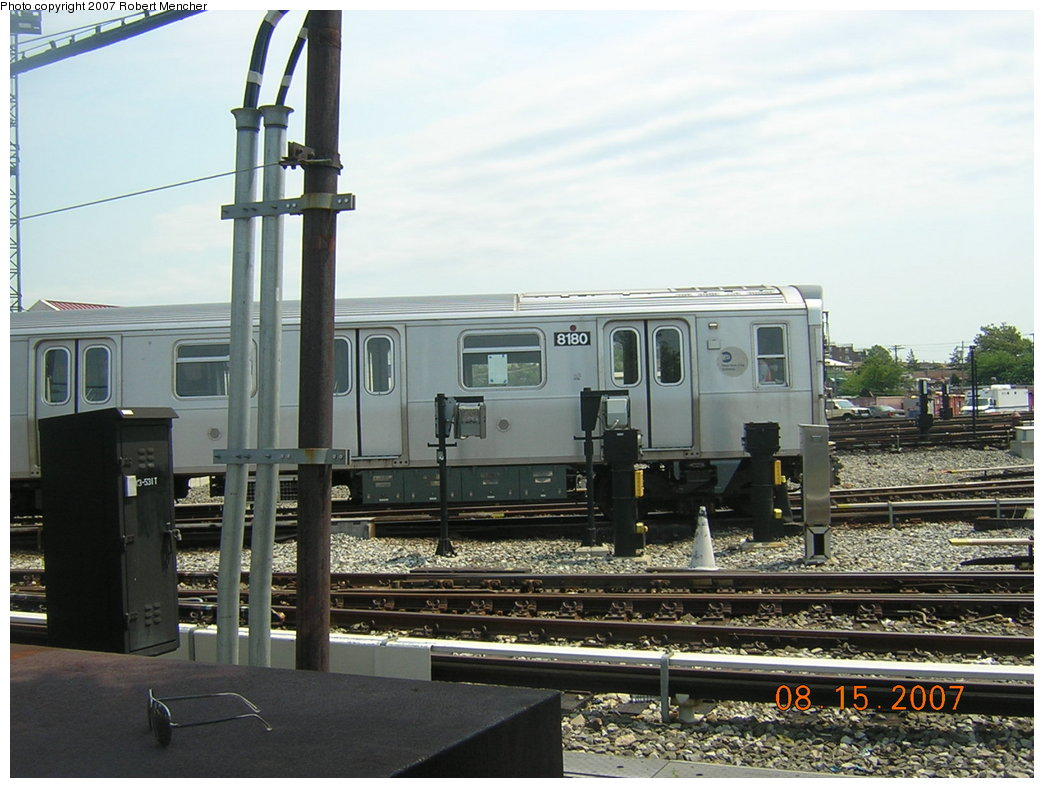 (199k, 1044x788)<br><b>Country:</b> United States<br><b>City:</b> New York<br><b>System:</b> New York City Transit<br><b>Location:</b> Rockaway Parkway (Canarsie) Yard<br><b>Car:</b> R-143 (Kawasaki, 2001-2002) 8180 <br><b>Photo by:</b> Robert Mencher<br><b>Date:</b> 8/15/2007<br><b>Viewed (this week/total):</b> 3 / 1614