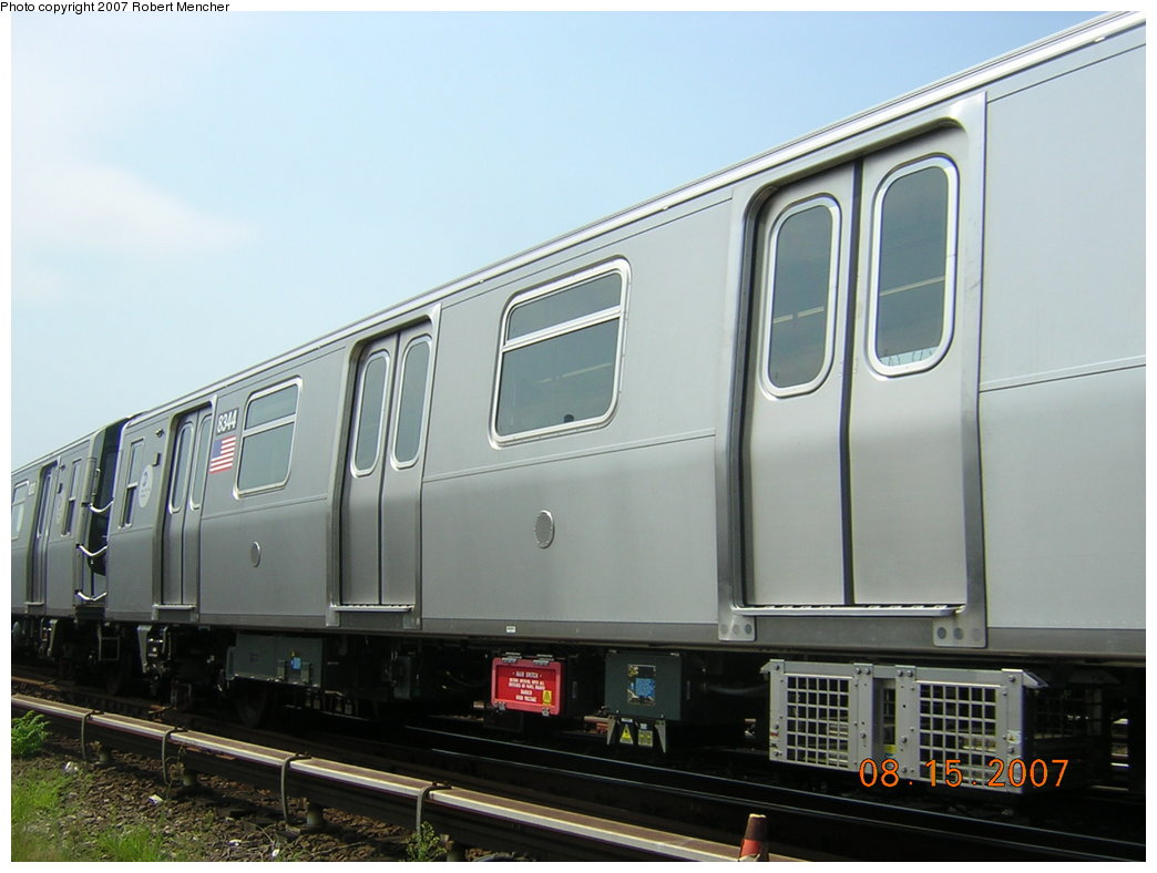 (162k, 1044x788)<br><b>Country:</b> United States<br><b>City:</b> New York<br><b>System:</b> New York City Transit<br><b>Location:</b> Rockaway Parkway (Canarsie) Yard<br><b>Car:</b> R-160A-1 (Alstom, 2005-2008, 4 car sets)  8344 <br><b>Photo by:</b> Robert Mencher<br><b>Date:</b> 8/15/2007<br><b>Viewed (this week/total):</b> 0 / 1384