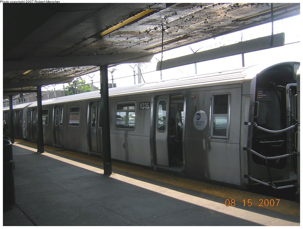 (190k, 1044x788)<br><b>Country:</b> United States<br><b>City:</b> New York<br><b>System:</b> New York City Transit<br><b>Line:</b> BMT Canarsie Line<br><b>Location:</b> Rockaway Parkway <br><b>Route:</b> L<br><b>Car:</b> R-160A-1 (Alstom, 2005-2008, 4 car sets)  8336 <br><b>Photo by:</b> Robert Mencher<br><b>Date:</b> 8/15/2007<br><b>Viewed (this week/total):</b> 0 / 1332