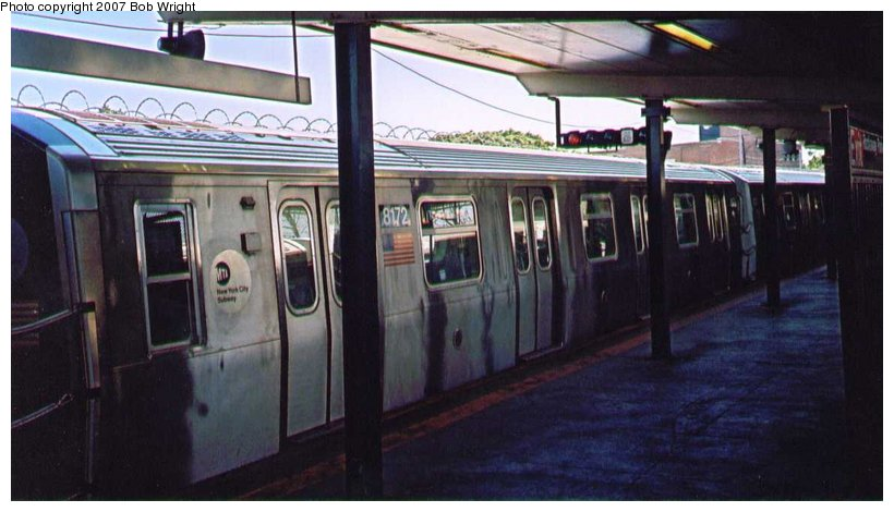 (77k, 820x470)<br><b>Country:</b> United States<br><b>City:</b> New York<br><b>System:</b> New York City Transit<br><b>Line:</b> BMT Canarsie Line<br><b>Location:</b> Rockaway Parkway <br><b>Route:</b> L<br><b>Car:</b> R-143 (Kawasaki, 2001-2002) 8172 <br><b>Photo by:</b> Bob Wright<br><b>Date:</b> 8/2004<br><b>Viewed (this week/total):</b> 1 / 1095
