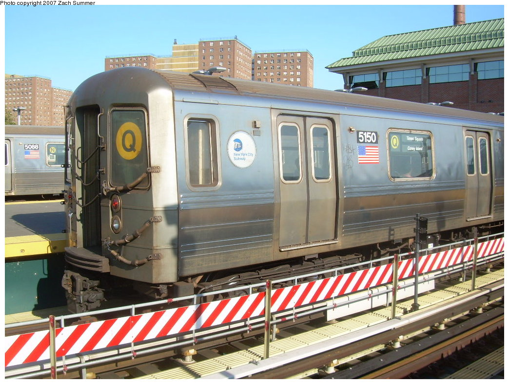 (251k, 1044x788)<br><b>Country:</b> United States<br><b>City:</b> New York<br><b>System:</b> New York City Transit<br><b>Location:</b> Coney Island/Stillwell Avenue<br><b>Route:</b> Q<br><b>Car:</b> R-68A (Kawasaki, 1988-1989)  5150 <br><b>Photo by:</b> Zach Summer<br><b>Date:</b> 8/12/2007<br><b>Viewed (this week/total):</b> 0 / 1223