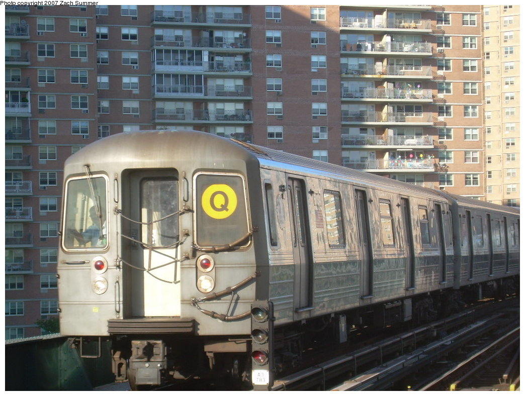 (228k, 1044x788)<br><b>Country:</b> United States<br><b>City:</b> New York<br><b>System:</b> New York City Transit<br><b>Line:</b> BMT Brighton Line<br><b>Location:</b> West 8th Street <br><b>Route:</b> Q<br><b>Car:</b> R-68A (Kawasaki, 1988-1989)   <br><b>Photo by:</b> Zach Summer<br><b>Date:</b> 8/12/2007<br><b>Viewed (this week/total):</b> 0 / 1075