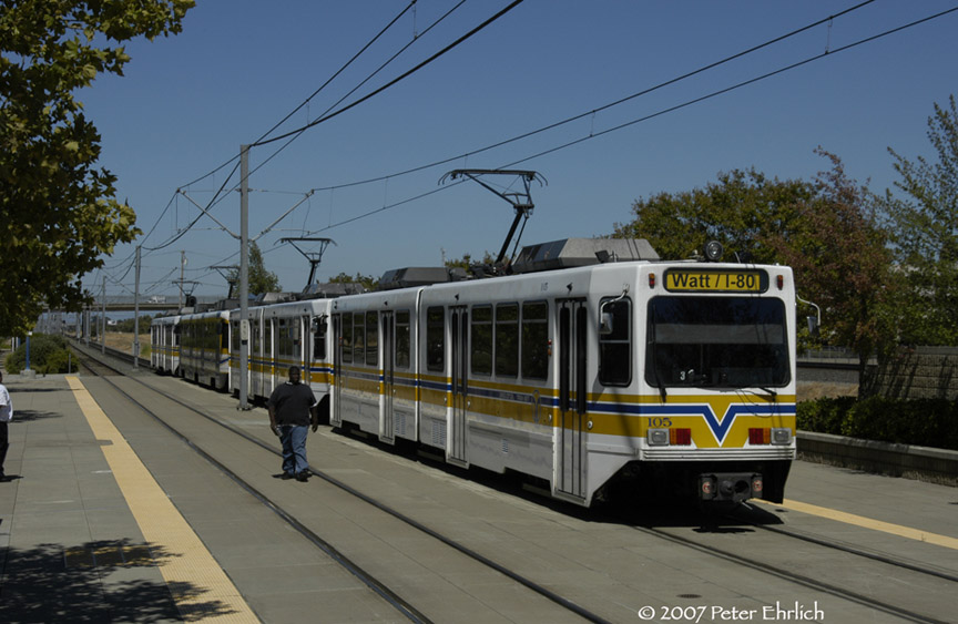 (170k, 864x563)<br><b>Country:</b> United States<br><b>City:</b> Sacramento, CA<br><b>System:</b> SACRT Light Rail<br><b>Location:</b> Swanston <br><b>Car:</b> Sacramento Siemens LRV  105 <br><b>Photo by:</b> Peter Ehrlich<br><b>Date:</b> 8/20/2007<br><b>Notes:</b> Leaving Swanston Station outbound.  Three Siemens cars and a CAF car in the train.<br><b>Viewed (this week/total):</b> 1 / 905