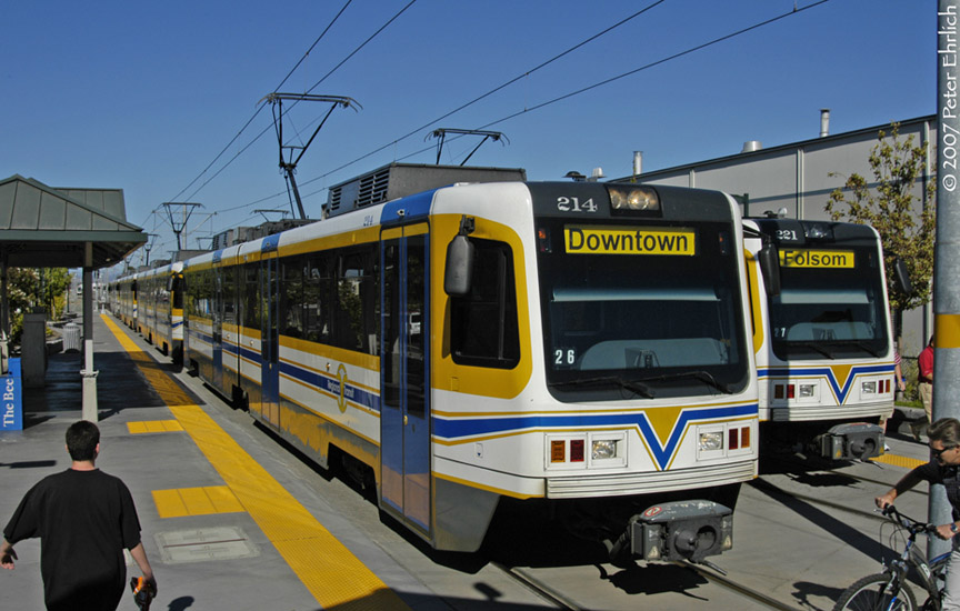 (182k, 864x550)<br><b>Country:</b> United States<br><b>City:</b> Sacramento, CA<br><b>System:</b> SACRT Light Rail<br><b>Location:</b> Sunrise <br><b>Car:</b> Sacramento CAF LRV  214 <br><b>Photo by:</b> Peter Ehrlich<br><b>Date:</b> 8/20/2007<br><b>Notes:</b> Sunrise Station inbound.  With 221 outbound.<br><b>Viewed (this week/total):</b> 4 / 687
