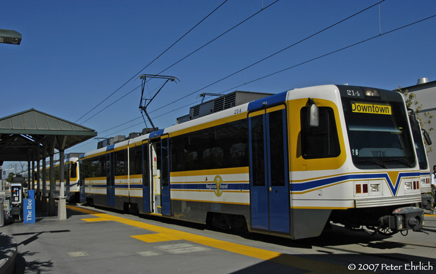 (154k, 864x544)<br><b>Country:</b> United States<br><b>City:</b> Sacramento, CA<br><b>System:</b> SACRT Light Rail<br><b>Location:</b> Sunrise <br><b>Car:</b> Sacramento CAF LRV  214 <br><b>Photo by:</b> Peter Ehrlich<br><b>Date:</b> 8/20/2007<br><b>Notes:</b> Sunrise Station inbound.<br><b>Viewed (this week/total):</b> 3 / 915