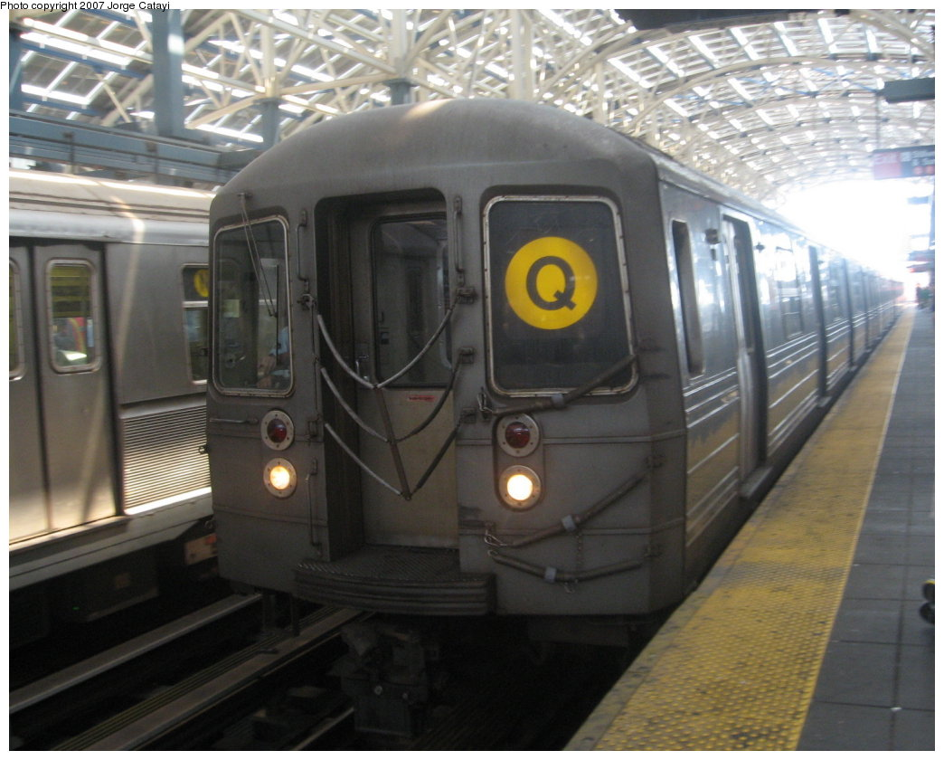(160k, 1044x840)<br><b>Country:</b> United States<br><b>City:</b> New York<br><b>System:</b> New York City Transit<br><b>Location:</b> Coney Island/Stillwell Avenue<br><b>Route:</b> Q<br><b>Car:</b> R-68A (Kawasaki, 1988-1989)   <br><b>Photo by:</b> Jorge Catayi<br><b>Date:</b> 8/12/2007<br><b>Viewed (this week/total):</b> 1 / 1118