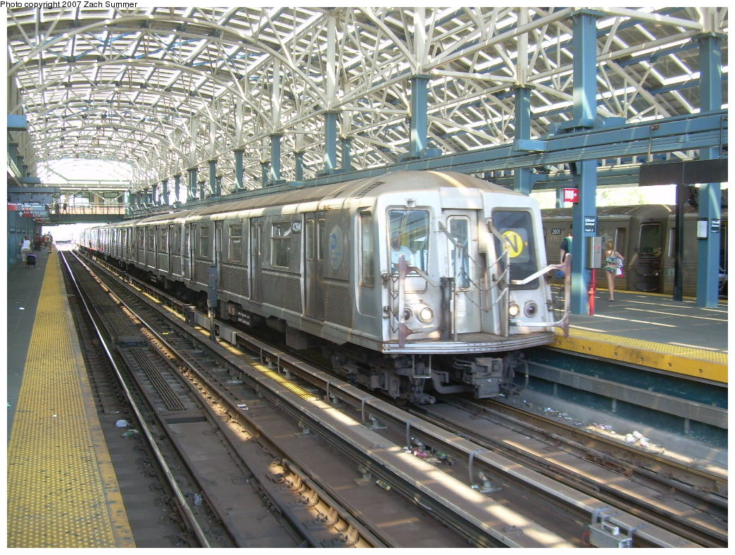 (294k, 1044x788)<br><b>Country:</b> United States<br><b>City:</b> New York<br><b>System:</b> New York City Transit<br><b>Location:</b> Coney Island/Stillwell Avenue<br><b>Route:</b> N<br><b>Car:</b> R-40 (St. Louis, 1968)  4394 <br><b>Photo by:</b> Zach Summer<br><b>Date:</b> 8/12/2007<br><b>Viewed (this week/total):</b> 2 / 1652