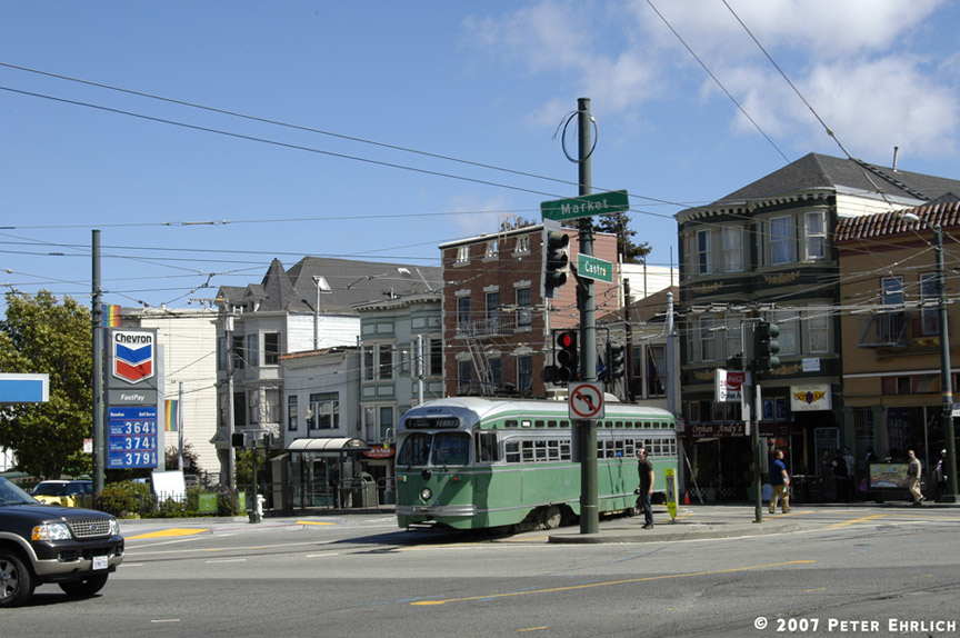 (185k, 864x574)<br><b>Country:</b> United States<br><b>City:</b> San Francisco/Bay Area, CA<br><b>System:</b> SF MUNI<br><b>Location:</b> Market/17th/Castro <br><b>Car:</b> SF MUNI PCC (Ex-SEPTA) (St. Louis Car Co., 1947-1948)  1053 <br><b>Photo by:</b> Peter Ehrlich<br><b>Date:</b> 8/7/2007<br><b>Notes:</b> Leaving 17th Street/Castro Terminal.<br><b>Viewed (this week/total):</b> 0 / 643