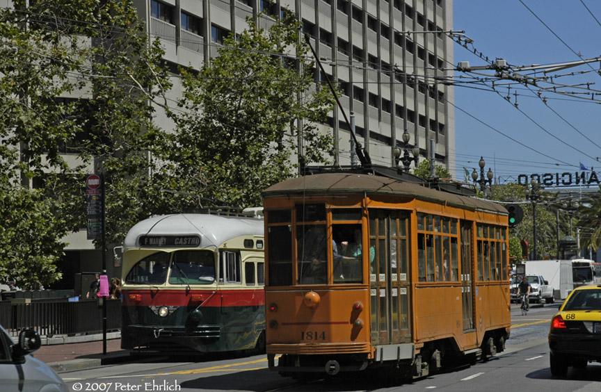 (240k, 864x564)<br><b>Country:</b> United States<br><b>City:</b> San Francisco/Bay Area, CA<br><b>System:</b> SF MUNI<br><b>Location:</b> Market/Drumm/California <br><b>Car:</b> SF MUNI PCC (Ex-NJTransit, Ex-Twin City) (St. Louis Car Co., 1946-1947)  1077 <br><b>Photo by:</b> Peter Ehrlich<br><b>Date:</b> 8/14/2007<br><b>Notes:</b> Market/Drumm outbound.<br><b>Viewed (this week/total):</b> 1 / 488