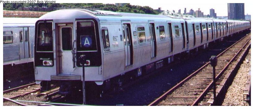 (71k, 820x352)<br><b>Country:</b> United States<br><b>City:</b> New York<br><b>System:</b> New York City Transit<br><b>Location:</b> 207th Street Yard<br><b>Car:</b> R-110B (Bombardier, 1992) 3009 <br><b>Photo by:</b> Bob Wright<br><b>Date:</b> 8/24/2003<br><b>Viewed (this week/total):</b> 0 / 3366