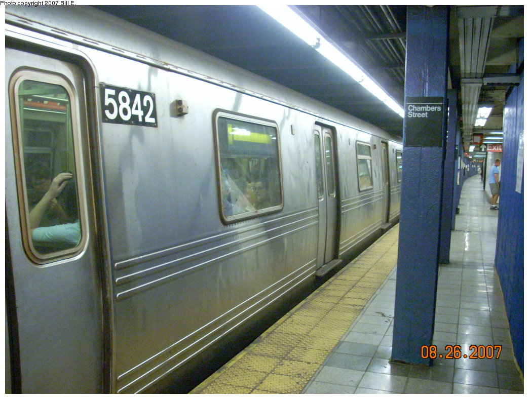 (216k, 1044x788)<br><b>Country:</b> United States<br><b>City:</b> New York<br><b>System:</b> New York City Transit<br><b>Line:</b> IND 8th Avenue Line<br><b>Location:</b> Chambers Street/World Trade Center <br><b>Route:</b> F<br><b>Car:</b> R-46 (Pullman-Standard, 1974-75) 5842 <br><b>Photo by:</b> Bill E.<br><b>Date:</b> 8/26/2007<br><b>Notes:</b> F re-route on A line.<br><b>Viewed (this week/total):</b> 2 / 1834