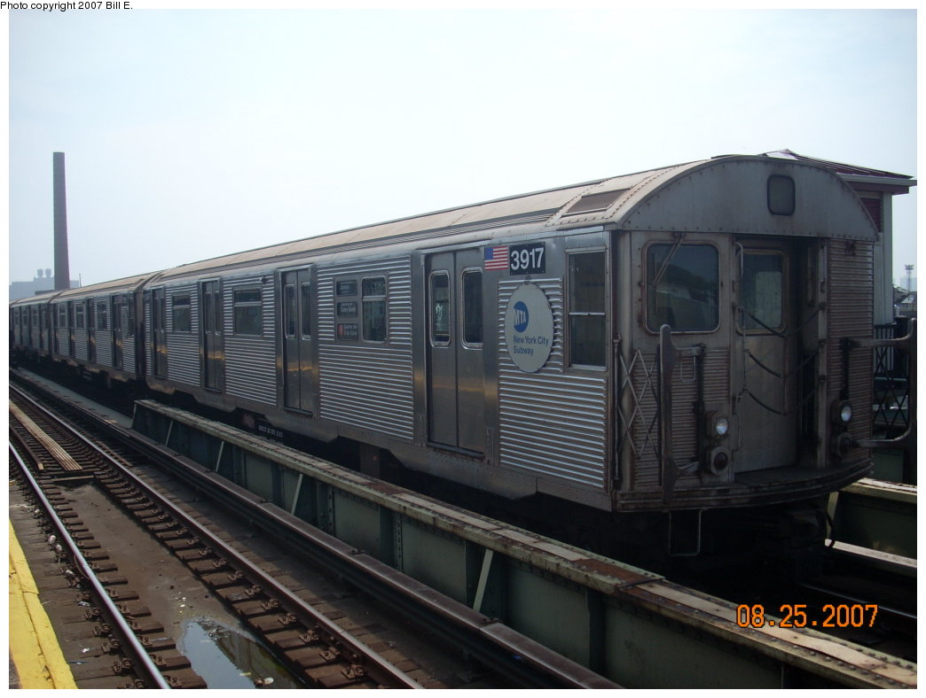 (166k, 1044x788)<br><b>Country:</b> United States<br><b>City:</b> New York<br><b>System:</b> New York City Transit<br><b>Line:</b> BMT Culver Line<br><b>Location:</b> Avenue X <br><b>Car:</b> R-32 (Budd, 1964)  3917 <br><b>Photo by:</b> Bill E.<br><b>Date:</b> 8/25/2007<br><b>Notes:</b> Lay-up at Avenue X<br><b>Viewed (this week/total):</b> 1 / 1206