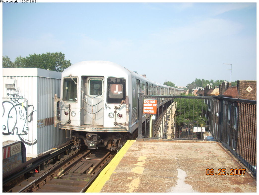 (191k, 1044x788)<br><b>Country:</b> United States<br><b>City:</b> New York<br><b>System:</b> New York City Transit<br><b>Line:</b> BMT Nassau Street/Jamaica Line<br><b>Location:</b> Woodhaven Boulevard <br><b>Route:</b> J<br><b>Car:</b> R-42 (St. Louis, 1969-1970)   <br><b>Photo by:</b> Bill E.<br><b>Date:</b> 8/25/2007<br><b>Viewed (this week/total):</b> 4 / 1649