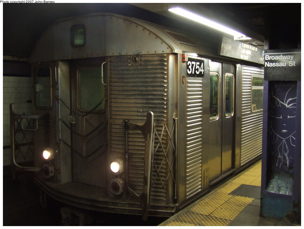 (145k, 1044x788)<br><b>Country:</b> United States<br><b>City:</b> New York<br><b>System:</b> New York City Transit<br><b>Line:</b> IND 8th Avenue Line<br><b>Location:</b> Fulton Street (Broadway/Nassau) <br><b>Route:</b> F<br><b>Car:</b> R-32 (Budd, 1964)  3754 <br><b>Photo by:</b> John Barnes<br><b>Date:</b> 8/26/2007<br><b>Notes:</b> F train re-routed on the A Line for a weekend G.O.<br><b>Viewed (this week/total):</b> 2 / 1827