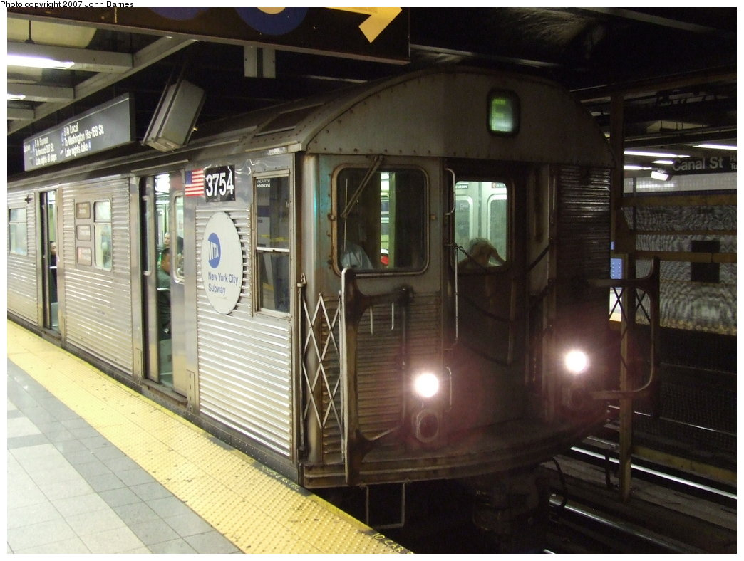 (171k, 1044x788)<br><b>Country:</b> United States<br><b>City:</b> New York<br><b>System:</b> New York City Transit<br><b>Line:</b> IND 8th Avenue Line<br><b>Location:</b> Canal Street-Holland Tunnel <br><b>Route:</b> F<br><b>Car:</b> R-32 (Budd, 1964)  3754 <br><b>Photo by:</b> John Barnes<br><b>Date:</b> 8/26/2007<br><b>Notes:</b> F train re-routed on the A Line for a weekend G.O.<br><b>Viewed (this week/total):</b> 1 / 1849