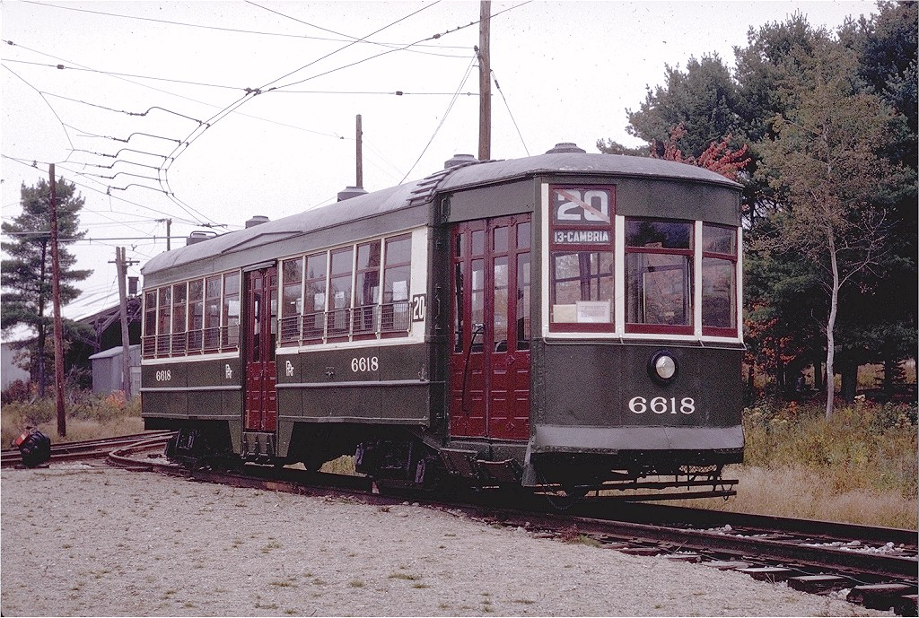 (288k, 1024x689)<br><b>Country:</b> United States<br><b>City:</b> Kennebunk, ME<br><b>System:</b> Seashore Trolley Museum <br><b>Car:</b> PTC  6618 <br><b>Photo by:</b> Joe Testagrose<br><b>Date:</b> 10/11/1970<br><b>Viewed (this week/total):</b> 2 / 1114