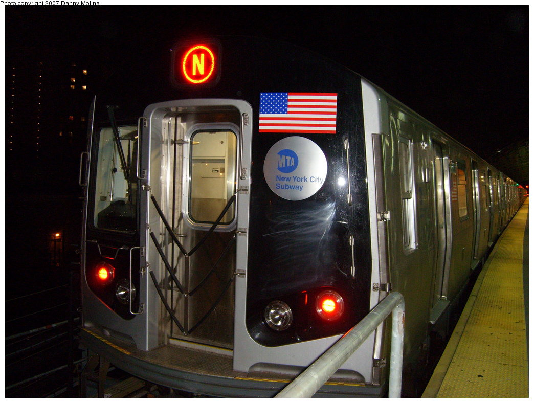 (200k, 1044x788)<br><b>Country:</b> United States<br><b>City:</b> New York<br><b>System:</b> New York City Transit<br><b>Location:</b> Coney Island/Stillwell Avenue<br><b>Route:</b> N<br><b>Car:</b> R-160B (Kawasaki, 2005-2008)  8852 <br><b>Photo by:</b> Danny Molina<br><b>Date:</b> 8/24/2007<br><b>Viewed (this week/total):</b> 2 / 1727