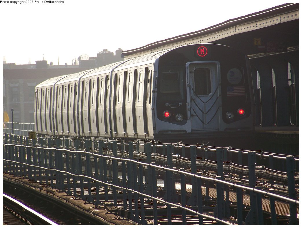 (184k, 1044x788)<br><b>Country:</b> United States<br><b>City:</b> New York<br><b>System:</b> New York City Transit<br><b>Line:</b> BMT Myrtle Avenue Line<br><b>Location:</b> Central Avenue <br><b>Route:</b> M<br><b>Car:</b> R-143 (Kawasaki, 2001-2002) 8181 <br><b>Photo by:</b> Philip D'Allesandro<br><b>Date:</b> 8/25/2007<br><b>Viewed (this week/total):</b> 1 / 2485