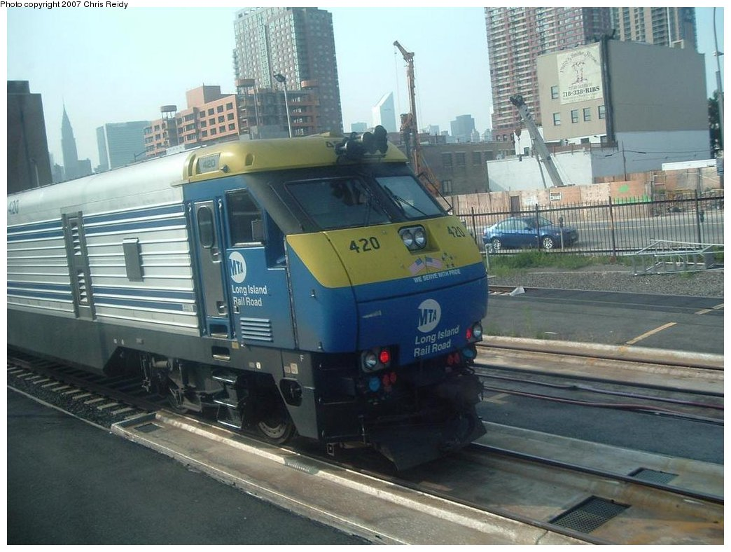 (167k, 1044x788)<br><b>Country:</b> United States<br><b>City:</b> New York<br><b>System:</b> Long Island Rail Road<br><b>Line:</b> LIRR Long Island City<br><b>Location:</b> Long Island City <br><b>Car:</b> LIRR GM DE30AC (Diesel)  420 <br><b>Photo by:</b> Chris Reidy<br><b>Date:</b> 8/24/2007<br><b>Viewed (this week/total):</b> 1 / 1204