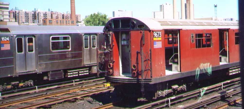 (157k, 1003x450)<br><b>Country:</b> United States<br><b>City:</b> New York<br><b>System:</b> New York City Transit<br><b>Location:</b> 207th Street Yard<br><b>Car:</b> R-36 World's Fair (St. Louis, 1963-64) 9673 <br><b>Photo by:</b> Bob Wright<br><b>Date:</b> 8/24/2003<br><b>Viewed (this week/total):</b> 2 / 4324