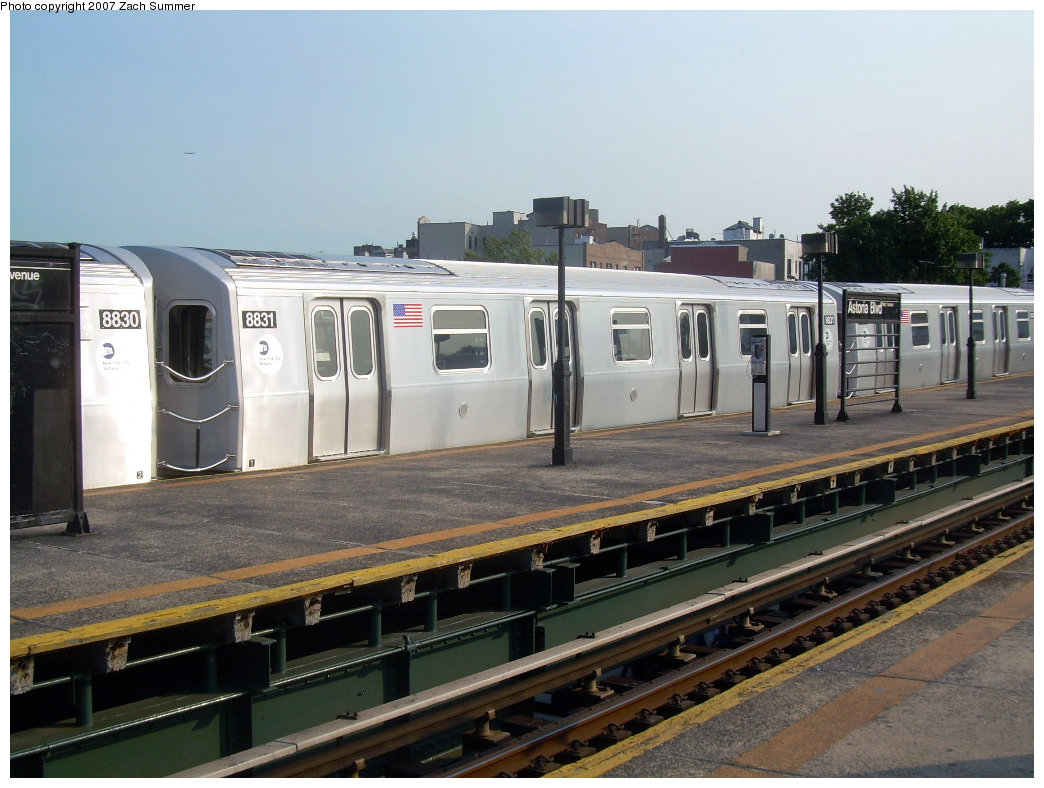 (203k, 1044x788)<br><b>Country:</b> United States<br><b>City:</b> New York<br><b>System:</b> New York City Transit<br><b>Line:</b> BMT Astoria Line<br><b>Location:</b> Astoria Boulevard/Hoyt Avenue <br><b>Route:</b> N<br><b>Car:</b> R-160B (Kawasaki, 2005-2008)  8831 <br><b>Photo by:</b> Zach Summer<br><b>Date:</b> 8/14/2007<br><b>Viewed (this week/total):</b> 4 / 2547