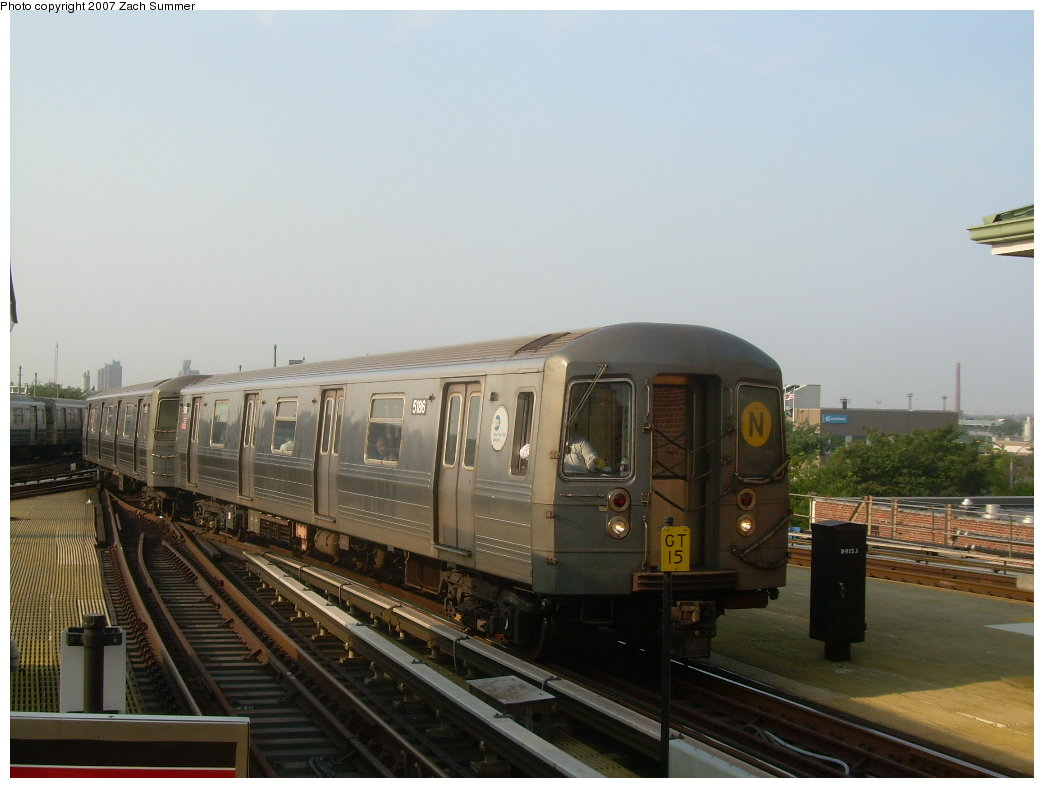 (161k, 1044x788)<br><b>Country:</b> United States<br><b>City:</b> New York<br><b>System:</b> New York City Transit<br><b>Location:</b> Coney Island/Stillwell Avenue<br><b>Route:</b> N<br><b>Car:</b> R-68A (Kawasaki, 1988-1989)  5196 <br><b>Photo by:</b> Zach Summer<br><b>Date:</b> 8/25/2007<br><b>Viewed (this week/total):</b> 2 / 1237