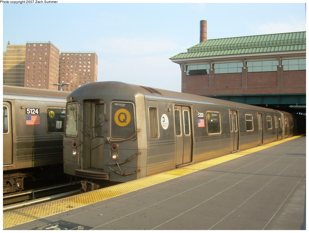 (188k, 1044x788)<br><b>Country:</b> United States<br><b>City:</b> New York<br><b>System:</b> New York City Transit<br><b>Location:</b> Coney Island/Stillwell Avenue<br><b>Route:</b> Q<br><b>Car:</b> R-68A (Kawasaki, 1988-1989)  5200 <br><b>Photo by:</b> Zach Summer<br><b>Date:</b> 8/25/2007<br><b>Viewed (this week/total):</b> 2 / 2363