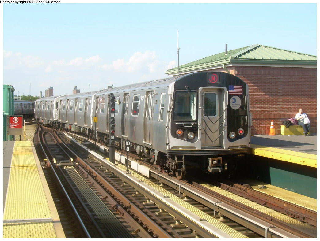 (220k, 1044x788)<br><b>Country:</b> United States<br><b>City:</b> New York<br><b>System:</b> New York City Transit<br><b>Location:</b> Coney Island/Stillwell Avenue<br><b>Route:</b> N<br><b>Car:</b> R-160B (Kawasaki, 2005-2008)  8737 <br><b>Photo by:</b> Zach Summer<br><b>Date:</b> 8/27/2007<br><b>Viewed (this week/total):</b> 0 / 1782
