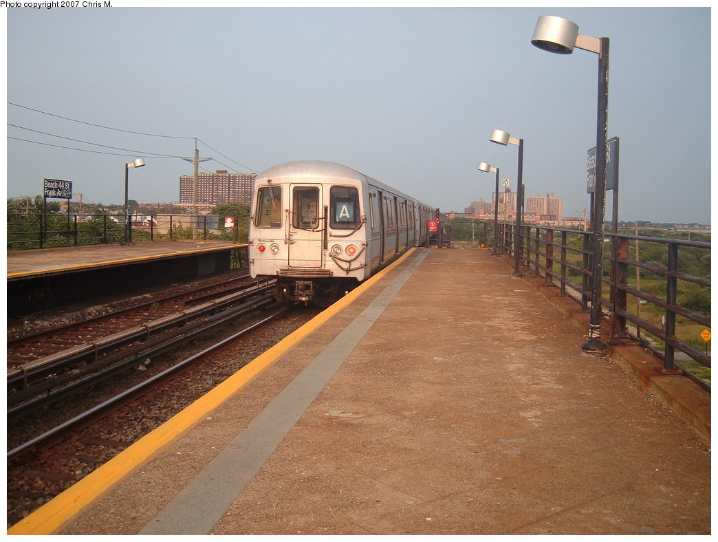 (179k, 1044x788)<br><b>Country:</b> United States<br><b>City:</b> New York<br><b>System:</b> New York City Transit<br><b>Line:</b> IND Rockaway<br><b>Location:</b> Beach 44th Street/Frank Avenue <br><b>Route:</b> A<br><b>Car:</b> R-44 (St. Louis, 1971-73)  <br><b>Photo by:</b> Chris M.<br><b>Date:</b> 8/31/2007<br><b>Viewed (this week/total):</b> 0 / 915
