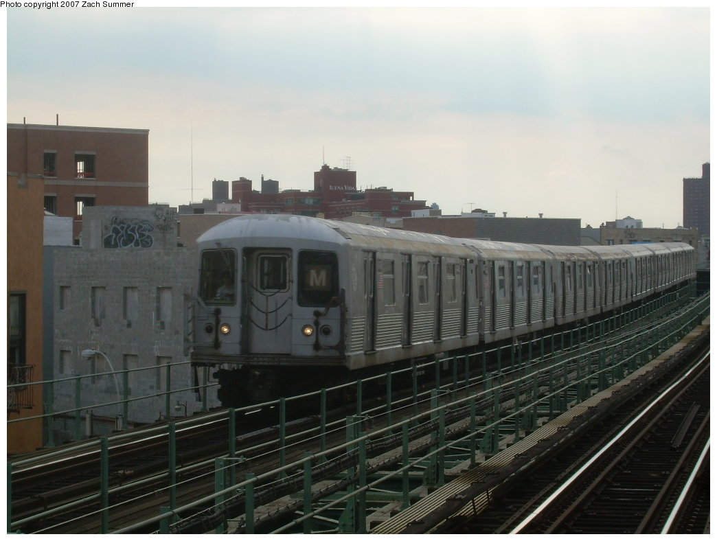 (171k, 1044x788)<br><b>Country:</b> United States<br><b>City:</b> New York<br><b>System:</b> New York City Transit<br><b>Line:</b> BMT Myrtle Avenue Line<br><b>Location:</b> Knickerbocker Avenue <br><b>Route:</b> M<br><b>Car:</b> R-42 (St. Louis, 1969-1970)  4745 <br><b>Photo by:</b> Zach Summer<br><b>Date:</b> 8/28/2007<br><b>Viewed (this week/total):</b> 7 / 1477