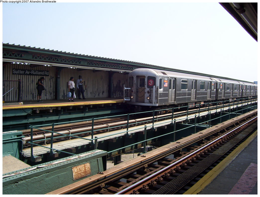 (206k, 1044x791)<br><b>Country:</b> United States<br><b>City:</b> New York<br><b>System:</b> New York City Transit<br><b>Line:</b> IRT Brooklyn Line<br><b>Location:</b> Sutter Avenue/Rutland Road <br><b>Route:</b> 3<br><b>Car:</b> R-62 (Kawasaki, 1983-1985)  1530 <br><b>Photo by:</b> Aliandro Brathwaite<br><b>Date:</b> 8/30/2007<br><b>Viewed (this week/total):</b> 4 / 1587
