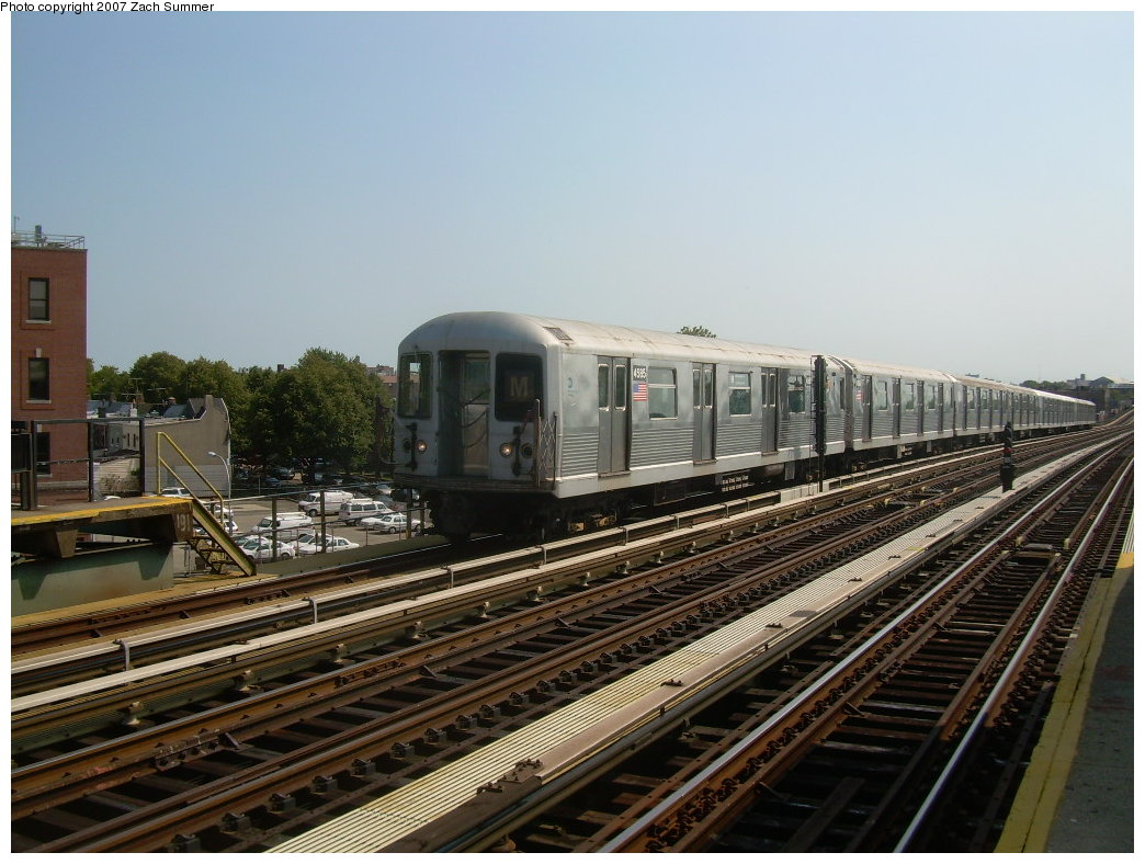 (209k, 1044x788)<br><b>Country:</b> United States<br><b>City:</b> New York<br><b>System:</b> New York City Transit<br><b>Line:</b> BMT West End Line<br><b>Location:</b> 71st Street <br><b>Route:</b> M<br><b>Car:</b> R-42 (St. Louis, 1969-1970)  4585 <br><b>Photo by:</b> Zach Summer<br><b>Date:</b> 8/29/2007<br><b>Viewed (this week/total):</b> 2 / 1380