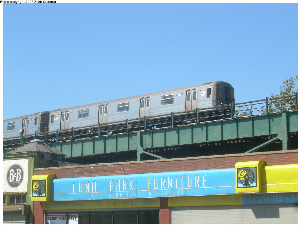 (169k, 1044x788)<br><b>Country:</b> United States<br><b>City:</b> New York<br><b>System:</b> New York City Transit<br><b>Location:</b> Coney Island/Stillwell Avenue<br><b>Route:</b> Q<br><b>Car:</b> R-68A (Kawasaki, 1988-1989)  5018 <br><b>Photo by:</b> Zach Summer<br><b>Date:</b> 9/2/2007<br><b>Notes:</b> Departing Stillwell Avenue.<br><b>Viewed (this week/total):</b> 0 / 1448