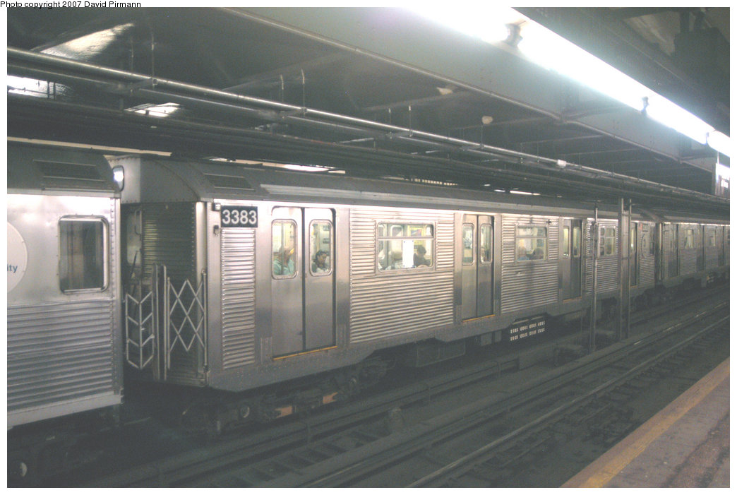 (183k, 1044x701)<br><b>Country:</b> United States<br><b>City:</b> New York<br><b>System:</b> New York City Transit<br><b>Line:</b> IND 8th Avenue Line<br><b>Location:</b> 181st Street <br><b>Route:</b> A<br><b>Car:</b> R-32 (Budd, 1964)  3383 <br><b>Photo by:</b> David Pirmann<br><b>Date:</b> 9/10/2007<br><b>Viewed (this week/total):</b> 2 / 1777