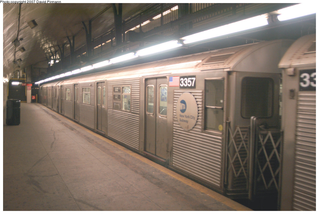 (181k, 1044x701)<br><b>Country:</b> United States<br><b>City:</b> New York<br><b>System:</b> New York City Transit<br><b>Line:</b> IND 8th Avenue Line<br><b>Location:</b> 181st Street <br><b>Route:</b> A<br><b>Car:</b> R-32 (Budd, 1964)  3357 <br><b>Photo by:</b> David Pirmann<br><b>Date:</b> 9/10/2007<br><b>Viewed (this week/total):</b> 1 / 1143