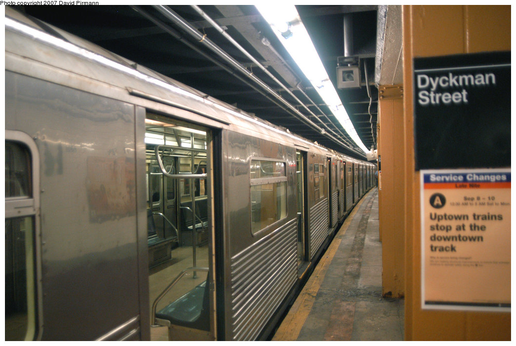 (206k, 1044x701)<br><b>Country:</b> United States<br><b>City:</b> New York<br><b>System:</b> New York City Transit<br><b>Line:</b> IND 8th Avenue Line<br><b>Location:</b> Dyckman Street/200th Street <br><b>Route:</b> A<br><b>Car:</b> R-38 (St. Louis, 1966-1967)  4116 <br><b>Photo by:</b> David Pirmann<br><b>Date:</b> 9/10/2007<br><b>Viewed (this week/total):</b> 1 / 2631