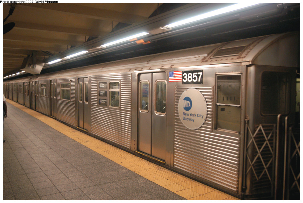 (204k, 1044x701)<br><b>Country:</b> United States<br><b>City:</b> New York<br><b>System:</b> New York City Transit<br><b>Line:</b> IND 8th Avenue Line<br><b>Location:</b> 207th Street <br><b>Route:</b> A<br><b>Car:</b> R-32 (Budd, 1964)  3857 <br><b>Photo by:</b> David Pirmann<br><b>Date:</b> 9/10/2007<br><b>Viewed (this week/total):</b> 1 / 1189