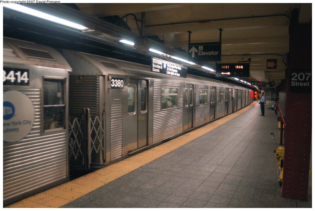 (194k, 1044x701)<br><b>Country:</b> United States<br><b>City:</b> New York<br><b>System:</b> New York City Transit<br><b>Line:</b> IND 8th Avenue Line<br><b>Location:</b> 207th Street <br><b>Route:</b> A<br><b>Car:</b> R-32 (Budd, 1964)  3380 <br><b>Photo by:</b> David Pirmann<br><b>Date:</b> 9/10/2007<br><b>Viewed (this week/total):</b> 5 / 1085