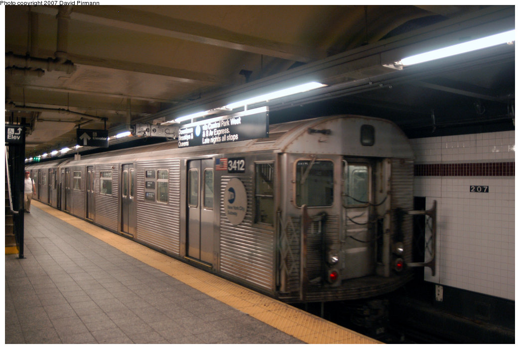 (178k, 1044x701)<br><b>Country:</b> United States<br><b>City:</b> New York<br><b>System:</b> New York City Transit<br><b>Line:</b> IND 8th Avenue Line<br><b>Location:</b> 207th Street <br><b>Route:</b> A<br><b>Car:</b> R-32 (Budd, 1964)  3412 <br><b>Photo by:</b> David Pirmann<br><b>Date:</b> 9/10/2007<br><b>Viewed (this week/total):</b> 1 / 1591