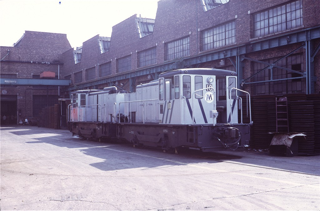 (194k, 1024x675)<br><b>Country:</b> United States<br><b>City:</b> New York<br><b>System:</b> New York City Transit<br><b>Location:</b> Coney Island Yard<br><b>Car:</b> GE 70-ton Locomotive (orig. for Speno Train)  10 <br><b>Photo by:</b> Steve Zabel<br><b>Collection of:</b> Joe Testagrose<br><b>Date:</b> 8/30/1972<br><b>Viewed (this week/total):</b> 2 / 416