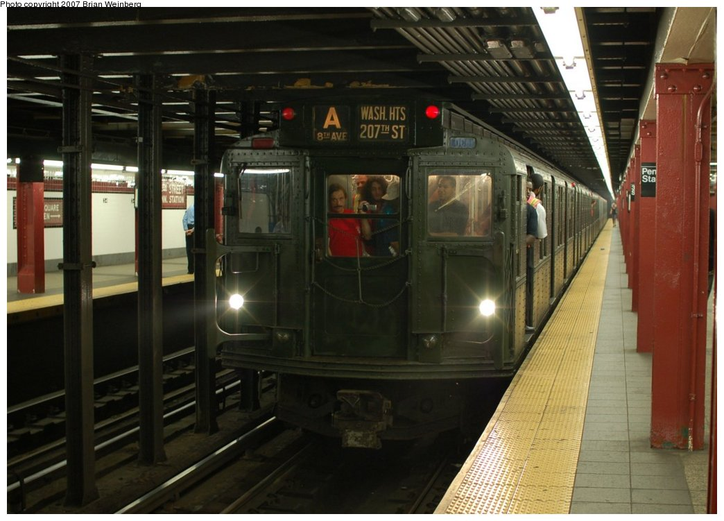 (198k, 1044x751)<br><b>Country:</b> United States<br><b>City:</b> New York<br><b>System:</b> New York City Transit<br><b>Line:</b> IND 8th Avenue Line<br><b>Location:</b> 34th Street/Penn Station <br><b>Route:</b> Fan Trip<br><b>Car:</b> R-9 (Pressed Steel, 1940)  1802 <br><b>Photo by:</b> Brian Weinberg<br><b>Date:</b> 9/10/2007<br><b>Notes:</b> Train in regular service for the 75th Anniversary of the opening of the A line (technically not a fantrip).<br><b>Viewed (this week/total):</b> 0 / 1748