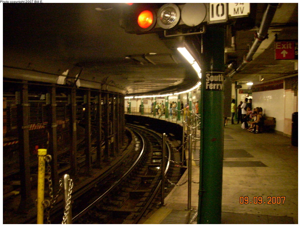 (218k, 1044x788)<br><b>Country:</b> United States<br><b>City:</b> New York<br><b>System:</b> New York City Transit<br><b>Line:</b> IRT West Side Line<br><b>Location:</b> South Ferry (Outer Loop Station) <br><b>Photo by:</b> Bill E.<br><b>Date:</b> 9/9/2007<br><b>Viewed (this week/total):</b> 0 / 2660