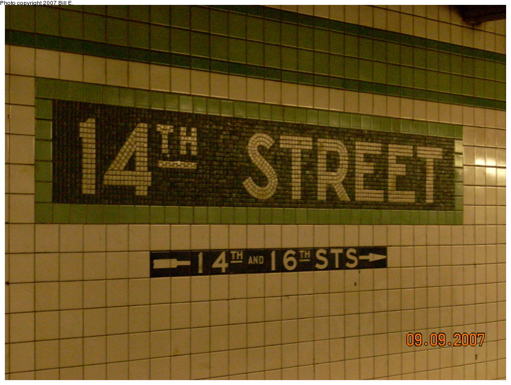 (203k, 1044x788)<br><b>Country:</b> United States<br><b>City:</b> New York<br><b>System:</b> New York City Transit<br><b>Line:</b> IND 6th Avenue Line<br><b>Location:</b> 14th Street <br><b>Photo by:</b> Bill E.<br><b>Date:</b> 9/9/2007<br><b>Viewed (this week/total):</b> 1 / 960