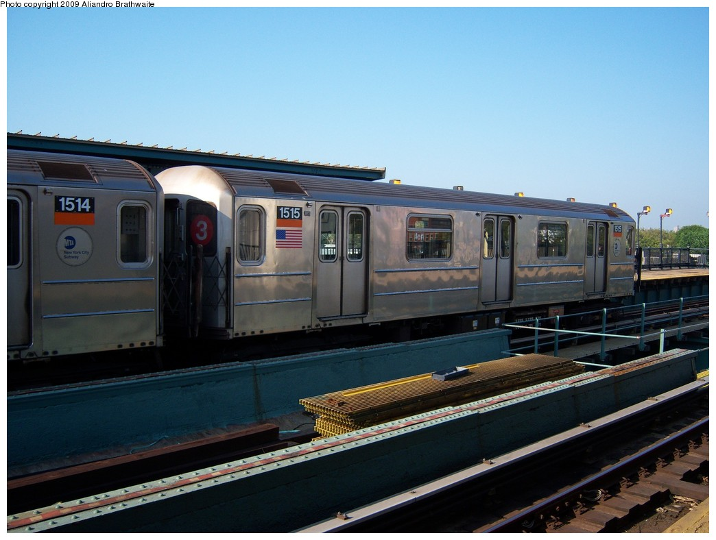 (204k, 1044x788)<br><b>Country:</b> United States<br><b>City:</b> New York<br><b>System:</b> New York City Transit<br><b>Line:</b> IRT Brooklyn Line<br><b>Location:</b> Van Siclen Avenue <br><b>Route:</b> 3<br><b>Car:</b> R-62 (Kawasaki, 1983-1985)  1515 <br><b>Photo by:</b> Aliandro Brathwaite<br><b>Date:</b> 8/15/2009<br><b>Viewed (this week/total):</b> 1 / 483