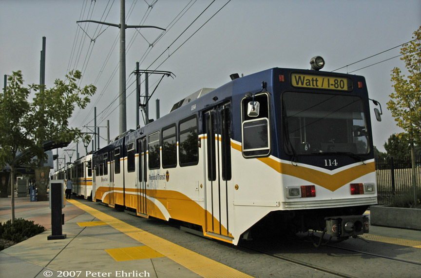 (184k, 864x570)<br><b>Country:</b> United States<br><b>City:</b> Sacramento, CA<br><b>System:</b> SACRT Light Rail<br><b>Location:</b> Meadowview <br><b>Car:</b> Sacramento Siemens LRV  114 <br><b>Photo by:</b> Peter Ehrlich<br><b>Date:</b> 9/5/2007<br><b>Notes:</b> Meadowview Station.  114 is one of three 100s painted in RT Metro's newest paint scheme.<br><b>Viewed (this week/total):</b> 1 / 772