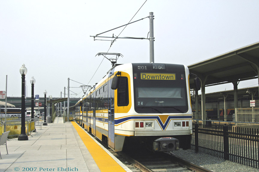 (161k, 864x574)<br><b>Country:</b> United States<br><b>City:</b> Sacramento, CA<br><b>System:</b> SACRT Light Rail<br><b>Location:</b> Sacramento Valley Station (Amtrak) <br><b>Car:</b> Sacramento CAF LRV  201 <br><b>Photo by:</b> Peter Ehrlich<br><b>Date:</b> 9/5/2007<br><b>Viewed (this week/total):</b> 2 / 569