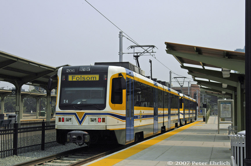 (167k, 864x574)<br><b>Country:</b> United States<br><b>City:</b> Sacramento, CA<br><b>System:</b> SACRT Light Rail<br><b>Location:</b> Sacramento Valley Station (Amtrak) <br><b>Car:</b> Sacramento CAF LRV  206 <br><b>Photo by:</b> Peter Ehrlich<br><b>Date:</b> 9/5/2007<br><b>Viewed (this week/total):</b> 1 / 582